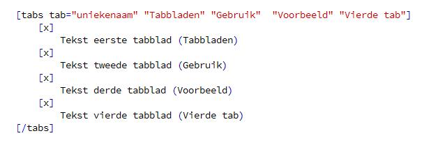 Structuur van de shortcodes voor tabbladen.